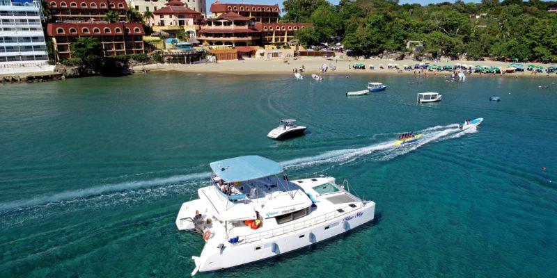 Catamaran rental docked in Sosua Bay