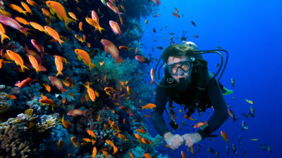 diver poses with bottom fish