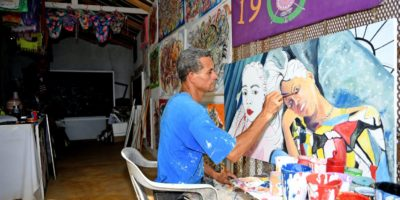 Teddy painting in his Shop
