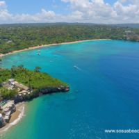 Aerial panorama of Sosua beach and the bay