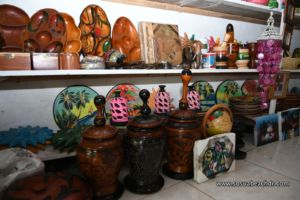 wooden handcrafts and art at the store