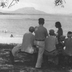 A group of people gather by the beach